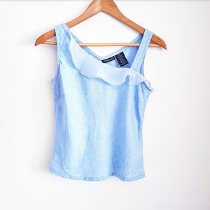 WILLI SMITH Blue Linen Ruffle Tank Top